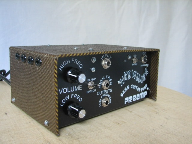 Nitewalker Bass Guitar Tube Preamp shown with optional tweed cover (dark or light).